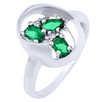 Серебряное кольцо  с изумрудом nano