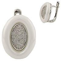 Серебряные серьги Unicorn с , керамикой (1220856), фото 1