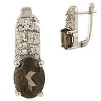 Серебряные серьги Unicorn с натуральным раухтопазом (димчатим кварцем) (1231777)
