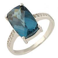 Серебряное кольцо Unicorn с натуральным топазом Лондон Блю (1245934) 17 размер, фото 1