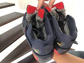 Зимние кроссовки мужские прессованная кожа на эко меху, фото 3