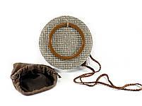 Модна жіноча сумка через плече - плетені кругла, фото 3
