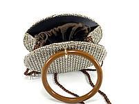Модна жіноча сумка через плече - плетені кругла, фото 4