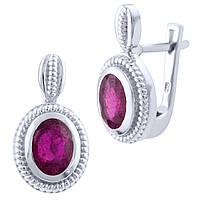 Серебряные серьги Unicorn с натуральным рубином (1651469)