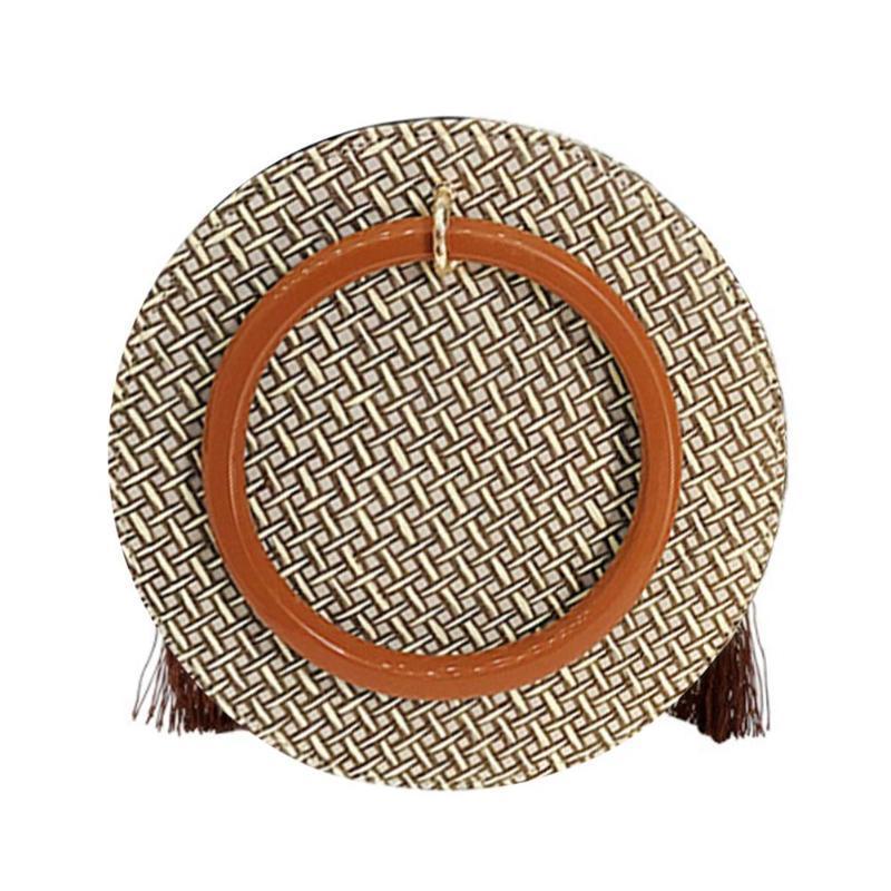 Модна жіноча сумка через плече - плетені кругла