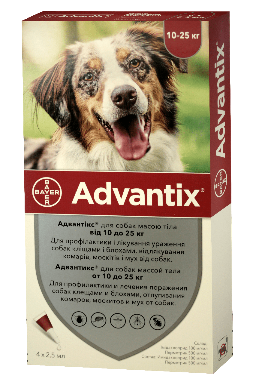 Bayer Advantix (Адвантикс) капли от блох, клещей для собак 10-25 кг (цена за упаковку 4шт)