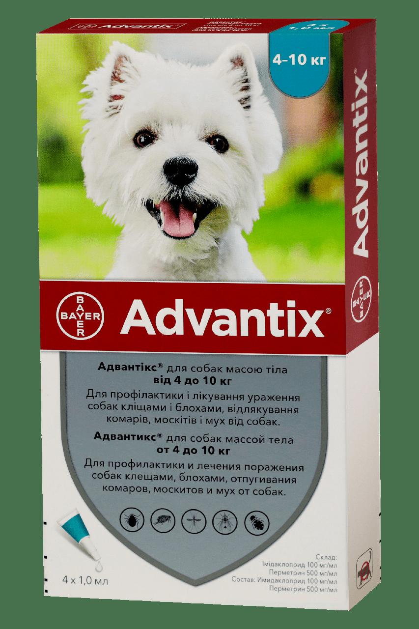 Bayer Advantix (Адвантикс) капли от блох, клещей для собак 4-10 кг (цена за упаковку 4шт)