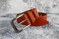 Рыжий ремень мужской кожаный брючной 3,5 см