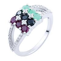 Серебряное кольцо  с натуральным сапфиром, изумрудом, рубином