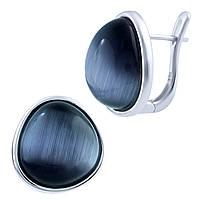 Серебряные серьги Unicorn с кошачим глазом (1803370)