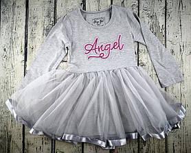 Платье для девочек серый коттон Турция