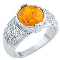 Серебряное кольцо  с янтарем , фото 1