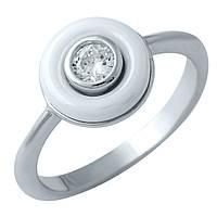 Серебряное кольцо  с , керамикой