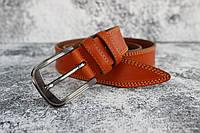 Мужской рыжий ремень кожаный для брюк 35 мм
