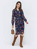 Шифоновое платье на запах с длинным рукавом, фото 3
