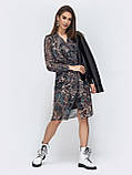 Шифоновое платье на запах с длинным рукавом, фото 7