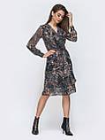Шифоновое платье на запах с длинным рукавом, фото 5