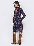 Шифоновое платье на запах с длинным рукавом, фото 4