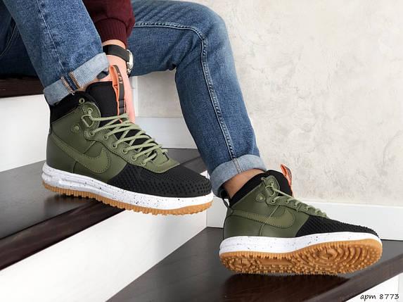 Высокие кроссовки мужские зеленые с черным прессованная кожа, фото 2