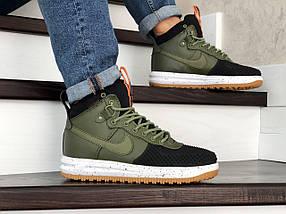 Высокие кроссовки мужские зеленые с черным прессованная кожа, фото 3