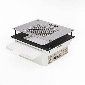 Вытяжка для маникюрного стола врезная маникюрная TeriTurbo с HEPA фильтром(нержавеющая сетка с надписями)