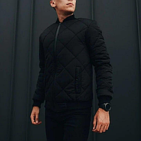 Куртка мужская демисезонная, бомбер стеганный черный