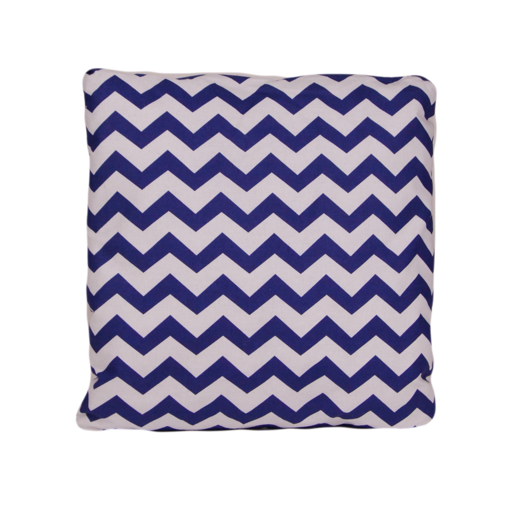 Подушка, 40*40 см, (хлопок), (зигзаги синие)