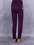 Лосины, Леггинсы детские с металлическим украшением на шлёвках (винный, фиолетовый), фото 2