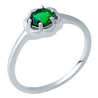 Серебряное кольцо Unicorn с изумрудом nano (1938140) 18 размер