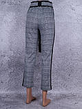 """Классические женские брюки """"в клеточку"""" с поясом (белый, чёрный, серый), фото 2"""