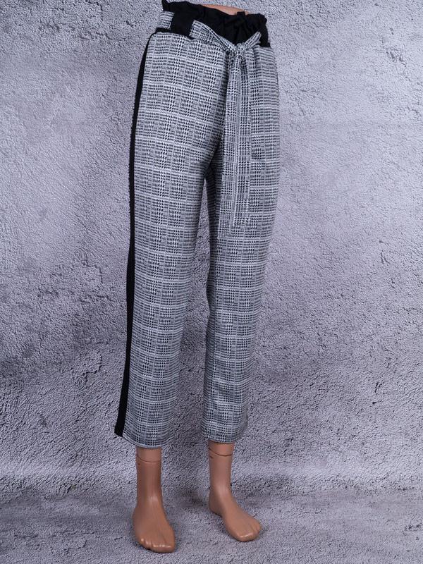 """Классические женские брюки """"в клеточку"""" с поясом (белый, чёрный, серый)"""