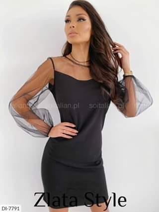 Женское платье черное рукав евросетка с люрексом. Размеры: S-M, M-L.