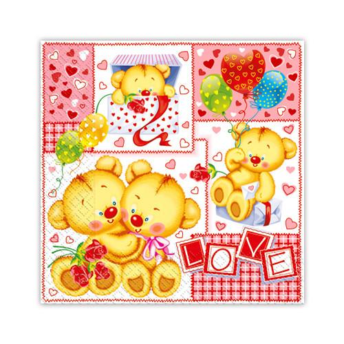 """Салфетки бумажные с рисунком """"Детские мишки"""" - 33х33см, 20шт."""