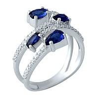 Серебряное кольцо Unicorn с сапфиром nano (1958612) 18 размер
