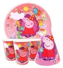 Набір дитячої святкової одноразового посуду Свинка Пеппа 10 тарілок 10 склянок 10 ковпачків