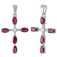 Серебряный крестик  с рубином , фото 1