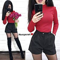 Замшевые женские шорты (черные, С и М, в продаже есть гольф как на фото), фото 1