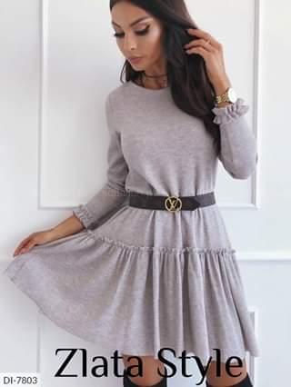 Женское платье однотонное ангора. Размеры: S-L. Ткань: ангора