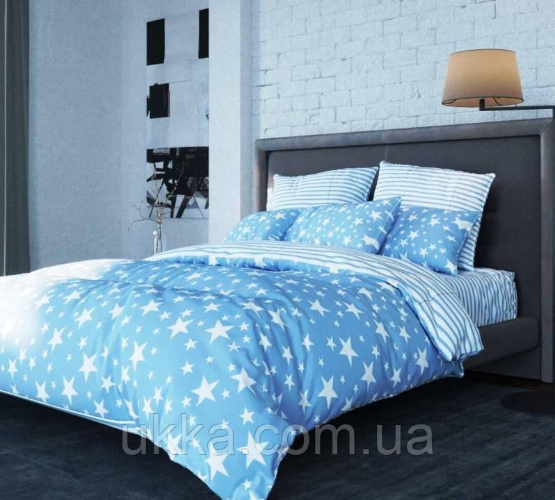 Евро постельное белье ТЕП Ранфорс 314 STAR BLUE
