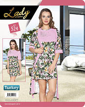 Комплект для сну 524 халат+сорочка Lady Lingerie