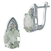 Серебряные серьги  с натуральным зеленим аметистом , фото 1