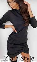 Женское платье черное замшевое. Размеры: S-M, M-L. Ткань: замш на дайвинге