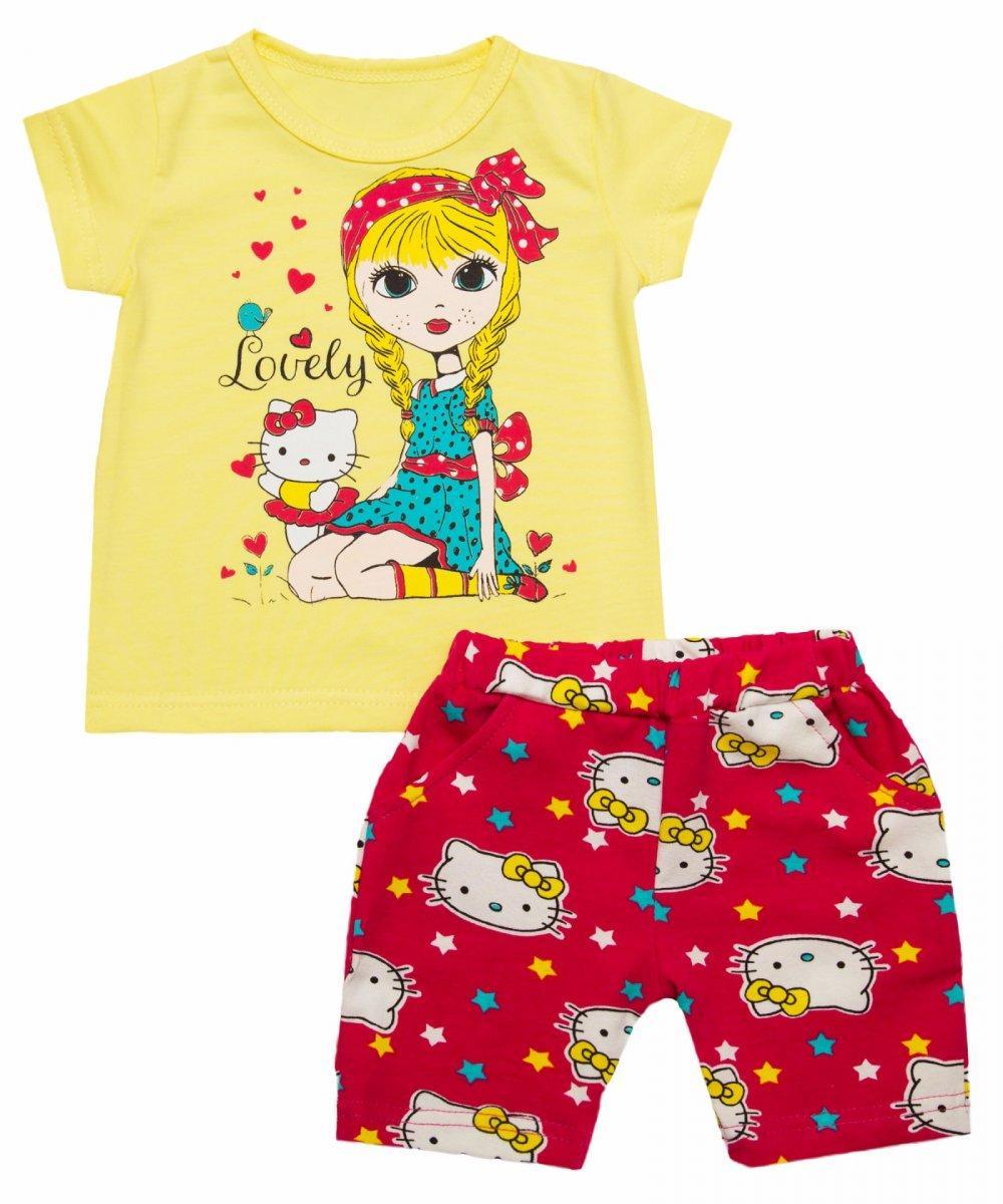 Костюм для девочки летний футболка и шорты Кошечка опт