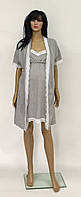 Комплект халат и сорочка серого цвета с кружевом для кормящих и беременных женщин 44-50 р