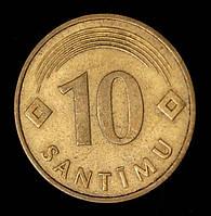 Монета Латвии 10 сантимов 1992 г.