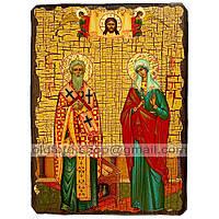 Икона Киприан и Иустина Святые Великомученики (130х170мм)
