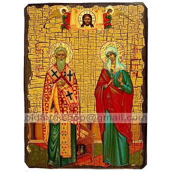 Икона Киприан и Иустина Святые Великомученики ,икона на дереве 130х170 мм