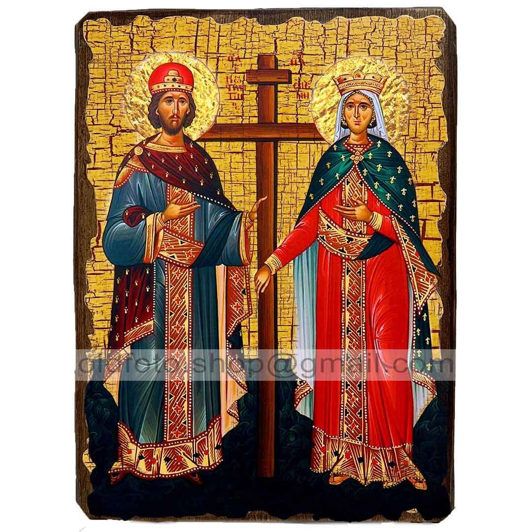Икона Константин и Елена Святые Равноапостольные ,икона на дереве 130х170 мм