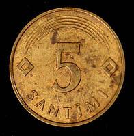 Монета Латвии 5 сантимов 1992 г.