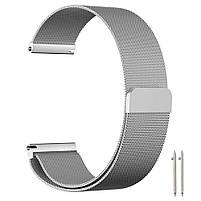 Amazfit Bip / Amazfit GTS  Металлический магнитный ремешок для смарт часов, Silver, ширина - 20 мм., фото 2